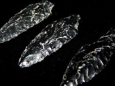 Pre-Columbian Obsidian Points, Collection of 3, Authentic