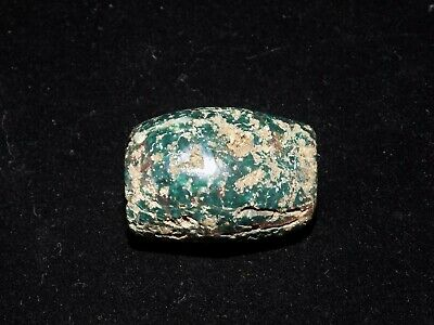 Pre-Columbian Blue Jade Tubular Bead, Authentic