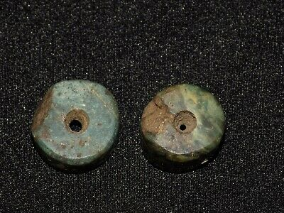 Pre-Columbian Blue Jade Beads, Set of 2, Authentic