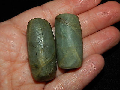 Pre-Columbian Translucent Jade Beads, Very Rare, Pair of 2, Authentic