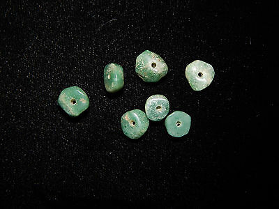 Authentic Pre-Columbian Green Jade Beads, Set of 7, Translucent Disc Jade Beads