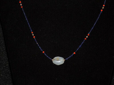 Pre-Columbian Chalcedony Pendant Bead with Sapphires, Coral and Gold Necklace