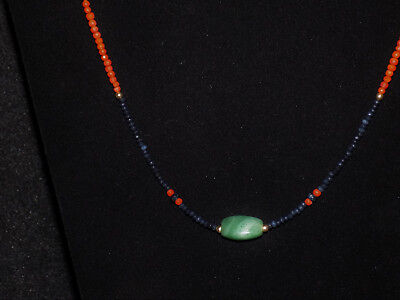 Pre-Columbian Jade Triangular Bead with Sapphire, Coral and Gold Necklace