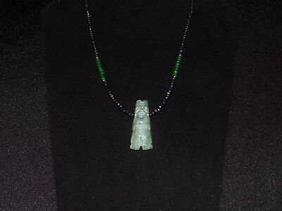 Pre-Columbian Blue Jade Shaman Axe God Necklace with Sapphires, Emeralds, Gold