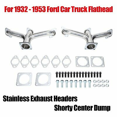 For Ford Flathead V8 1932-1953 cars trucks Silver Exhaust Headers flat truck