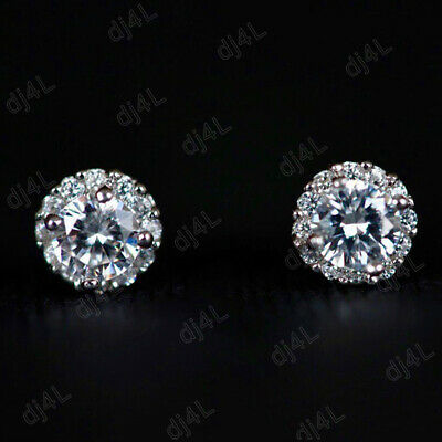 Solid 14k White Gold 1.50 Ct Round Cut Diamond Halo Cluster Stud Womens Earrings