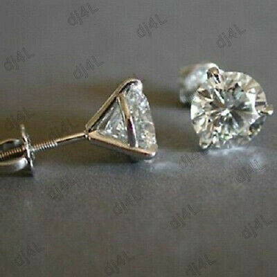 Womens Screw Back Stud Earrings Real 14k Solid White Gold Round Diamond 0.50 ct