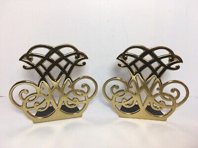Vtg Virginia Metalcrafters Solid Brass Bookends Thomas Jefferson Cypher 1987