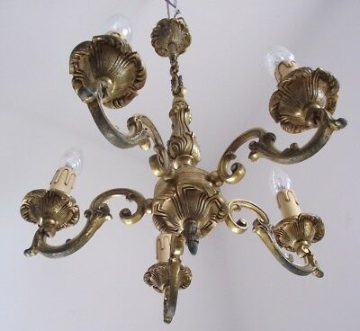 French Antique Bronze 5 Arm Chandelier With Scrolling Acanthus Leaf Detail 804