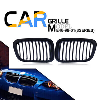 For BMW 3-Series E46 2DR Coupe 03-05 Matte Black Front Kidney Grill Grille UK