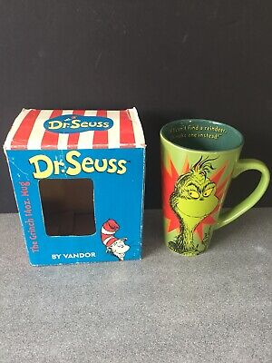 Tall Dr Seuss Coffee Mug How The Grinch Stole Christmas Green Cup Max Reindeer