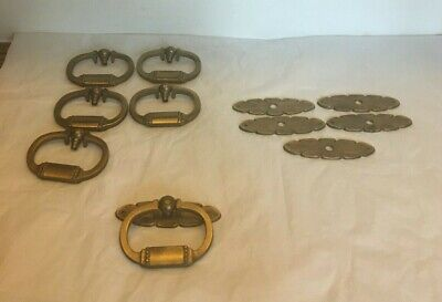 6 Vintage Solid Brass Decorative Drawer Pulls A6569 with Detailed Back Plate A70