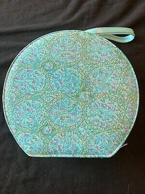"""Round Luggage Hat Box  Makeup Case Empty Turquoise With Design Empty 10""""x11"""" VTG"""