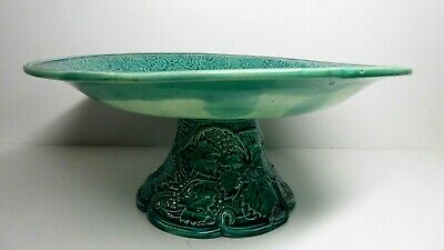 Antique Green Majolica Pottery Comport Embossed Fruit Grape Leaf Cherry Apricot