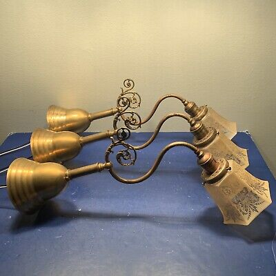 3 Three 1900s Antique Wall Sconce Fixtures Brass Newly Rewired 92D
