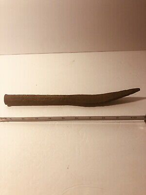 ANTIQUE 1800's FARM TOOL -- PRY BAR SPIKE HEAD HAND FORGED CURVED TIP RARE