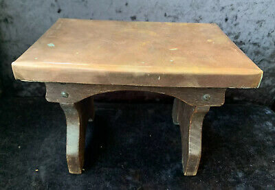 Arts & Crafts Small Wooden Footstool With Copper Top