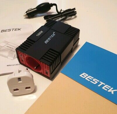 BESTEK MRI1513U EU UK PLUG 150 W Power Inverter Car Laptop Charger DC 12V to AC