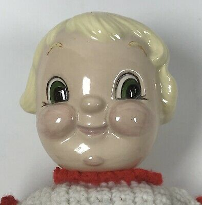 """VINTAGE CAMPBELLS SOUP KID Porcelain GIRL Doll 10""""  Red Crocheted Outfit & Shoe"""