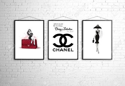 Coco Chanel A4 Wall Print Bedroom Dressing Room Home Poster Art Set Of 3 Gift