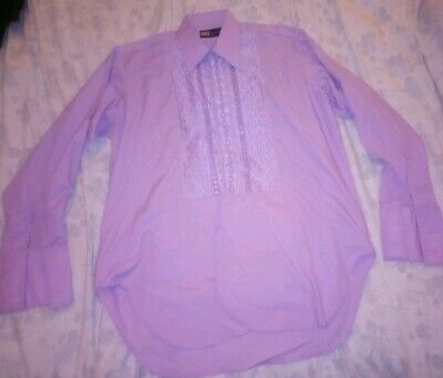 "Lilac Embroidered Shirt Lloyd Vintage Formal Wedding Party Shirt 18.5"" Collar"