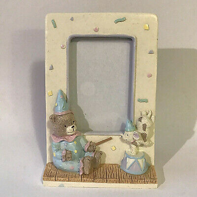 Pastel Child/Baby 3D Photo Picture Frame w Clown Bear Circus Dog Puppy 1992