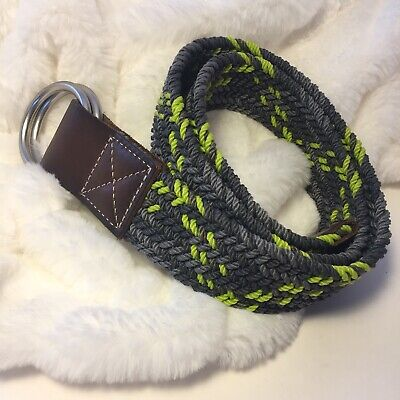Lands' End Kids Belt Braided Nylon Gray Lime Green Leather Silver Hardware Small