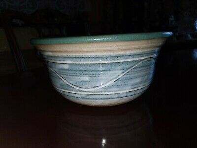 Green and Blue Pottery Stoneware Bowl Billie Creek SUE WAGONER 1993