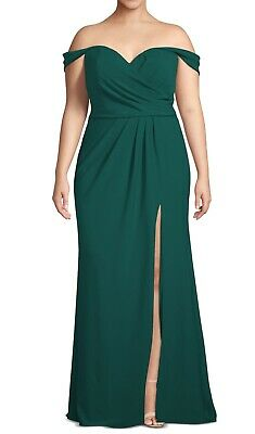 Xscape Women's Gown Green Size 22W Plus T High Slit Gathered Crepe