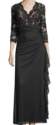 Betsy & Adam Women's Gown Black Size 16 Ruffled Cascade Lace Gathered