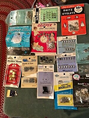 LOT OF VINTAGE CLOSURES SNAPs HOOKS EYES HOOK-N-EYES VARIOUS STYLES