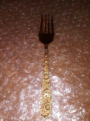 S. Kirk & Son REPOUSSE Sterling Serving Small lCold Meat Fork (JD) gold plate