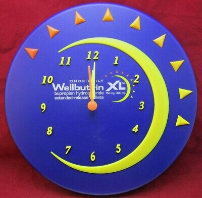 """Wellbutrin 3D Wall Clock Drug Rep Promo Advertising 11"""" Round Mint Cond"""