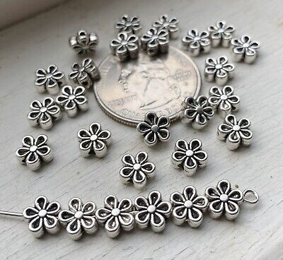 100PCS 7mm Antiqued Silver Flower Metal Spacer Beads