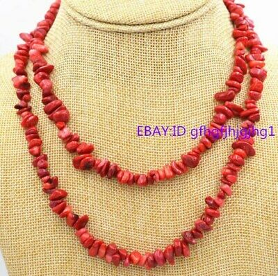35'' Natural 5x8mm Red Coral Freeform Gravel Gemstone Beads Necklace