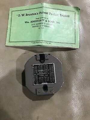 Vintage 1951 D.W. Bruntons Pocket Transit Compass Ainsworth & Sons With Manual