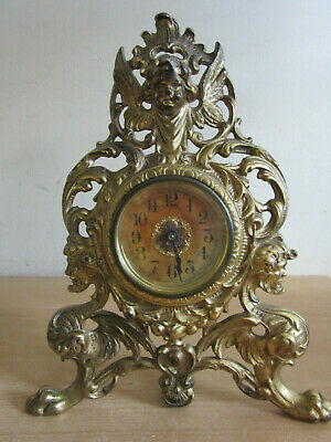 """Antique Victorian Western Clock Co wind up in ornate Cast Iron Frame 10.5"""""""