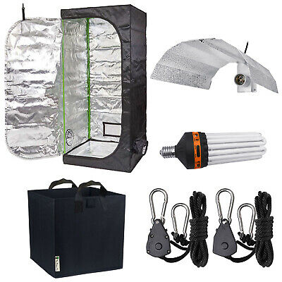 Green Box 80x80x180cm Grow Tent Kit 125W Dual CFL Reflector Rope Ratches