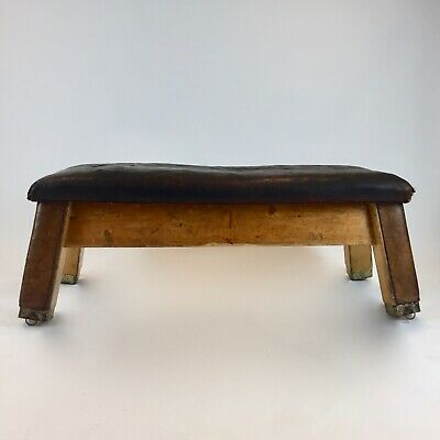 Vintage school Gym Bench coffee table leather gym mat pommel horse retail