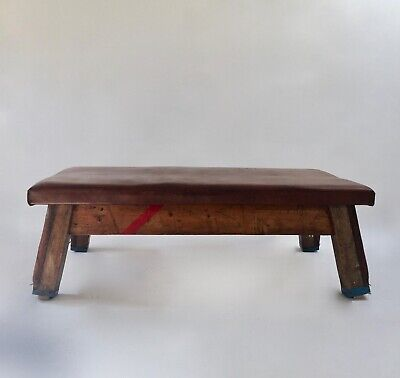 LARGE Vintage school Gym Bench coffee table leather gym mat pommel horse day bed