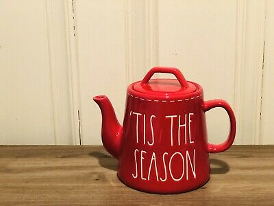 Rae Dunn Christmas By Magenta 'TIS THE SEASON White Stitching Red Teapot VHTF