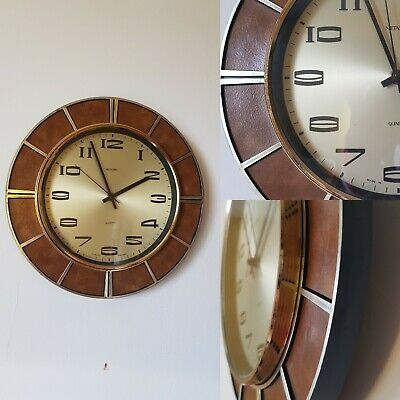Vintage retro clock Metamec sunburst leather look