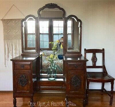 Restored Rare Antique Chinese Imported Vanity w/ Tri fold Mirror & Ornate Chair