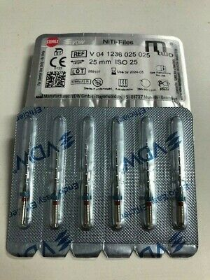 Lot 2x Mtwo NiTi Système Mtwo Taper, 6 unités, 25 mm ISO V04 1236 025 025