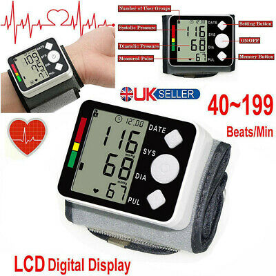 Electronic Wrist Blood Pressure Monitor Automatic LCD Digital Display Household