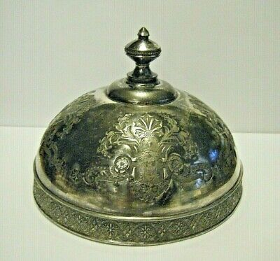 Rare Pattern Head Dress Victorian Aesthetic Silverplate Butter Dish Dome Cover