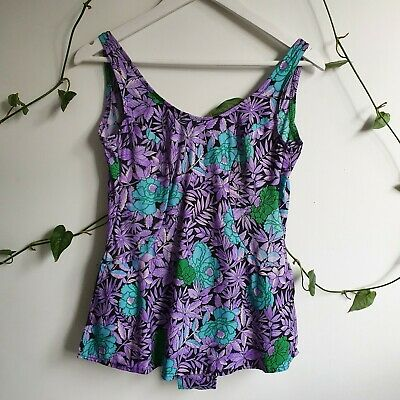 Vtg 60s Purple Green Botanical Floral Print Skirted Low Back Swimsuit M OnePiece
