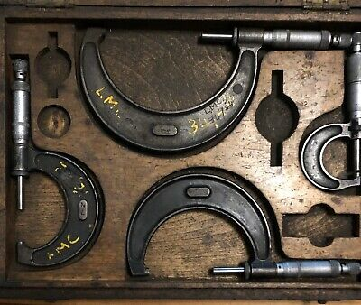 Vintage Boxed Set Four Moore & Wright Micrometer Engineering Measure Old Tools