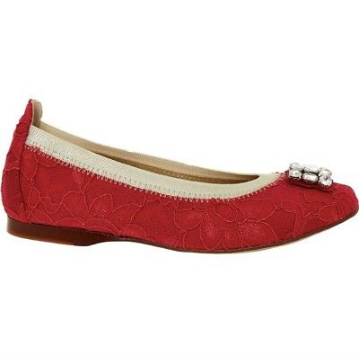 Girl David Charles Red Laces Ballerinas Shoes Spain UK 3 EU 36 NEW RRP 160