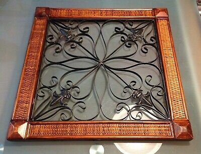 Ornate Hand Wrought Iron Tuscan Wood Framed  Art Fleur De Lis Leaf Wall Decor